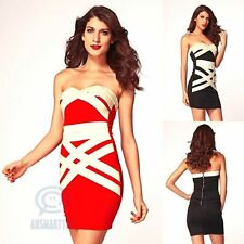 Gold Bandage Bodycon Strapless Dress Formal Prom Cocktail Evening Party Clubwear