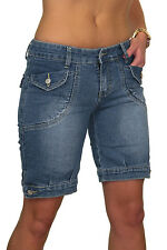 NEW (1427) Ladies Casual Faded Denim Jeans Shorts Blue 6-8