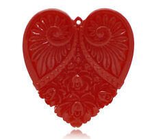 Wholesale DIY Jewelry Red Carved Flower Heart Charm Resin Pendants 5x4.5cm