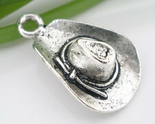 Wholesale HOT! Jewelry Silver Tone Cowboy Hat Charms Pendants 21x13mm