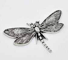 Wholesale HOT! Jewelry Silver Tone Dragonfly Charm Pendants 49x31mm