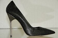 New Manolo Blahnik BB 115 Studs Black Leather Shoes 5 inches Python Heels Pumps