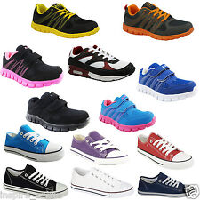 BOYS GIRLS KIDS FLAT LACE UP PLIMSOLLS PUMPS CANVAS LADIES TRAINERS SHOES SIZE