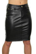 NEW (2463) Sexy Leather Look Slight Stretch Pencil Skirt Black 6-14