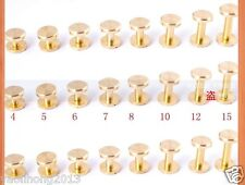 1-20pcs 4-15mm Leather Craft Belt Wallet Solid Brass Nail Rivets Chicago Screws