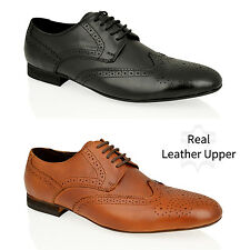 MENS BLACK BROWN REAL LEATHER FORMAL OFFICE WORK BROGUE OXFORD LACE SHOES SIZES