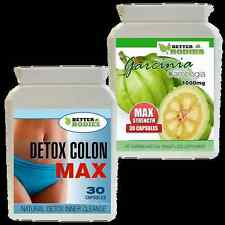 GARCINIA CAMBOGIA HIGHEST UK STRENGTH 1000MG + DETOX COLON CLEANSE DIET PILLS
