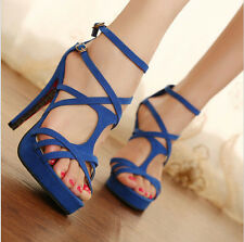 Sexy Black Red Blue Womens Fashon Stiletto High Heel Strappy Sandals Shoes US5-9