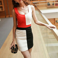 High Quality  Women Lady Splicing Contrast Colors Scoop Neck Sleeveless Dress