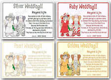 Personalised Silver / Pearl / Ruby / Golden Wedding Anniversary Invitations