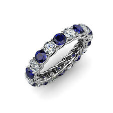 Blue Sapphire & Diamond (SI2-I1, G-H) Eternity Band 3.48 -4.10 ct tw in 14K Gold