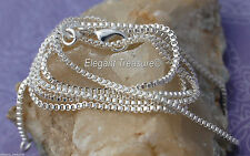 1.5mm BOX Chain Necklace 925 Sterling Silver Jewelry 16 18 20 22 24 26 28 30 in