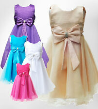 Girls Formal Big Bow Bridesmaid Dresses Flower Girl Party Prom Dress 6M to 13YRS