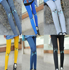 Korean Fashion Girls Cute Embroidery Cat Leggings Stretch Tights Pants 2014 New