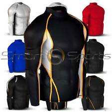 Mens Sports Mid-Weight Compression Long Sleeve Top Baselayer Skin | Tesla