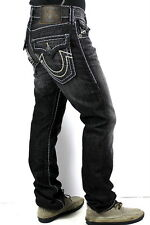 True Religion $368 Men's Ricky Grey Black Super T Straight Jeans