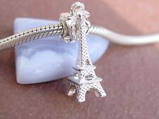 3D Silver Eiffel Tower Paris France Slider Dangle Charm fits European Bracelets