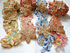 1 Yard 3D Color Flower Embroidery Lace Fabric Organza Lace Ribbon Gold Trims