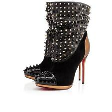 Christian Louboutin SPIKE WARS Black Leather Suede Patent Heels Boots $1995