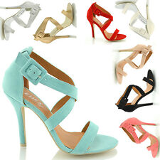 WOMENS HIGH HEEL SANDALS LADIES PARTY STILETTO ANKLE STRAP SANDAL SHOES SIZE 3-8