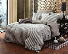 100% Cotton 4pc Duvet Cover Set Sheet Included Full Queen King Brown Stripes