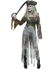 Ladies Zombie Pirate Fancy Dress Halloween Costume Ghost Ship Outfit
