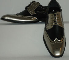 Mens Gorgeous Antique Metallic Silver & Black Wingtip Dress Shoes Amali 7800-211