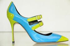 NEW MANOLO BLAHNIK Mary Jane Electron Blue Green Patent Heels Pumps SHOES 36.5