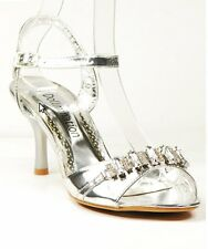 WOMENS NEW AU SILVER HEELS WEDDING BRIDAL PARTY EVENING LADIES SANDALS SHOES