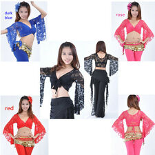 Belly Dance Costume Bolero Lace Top Flared Blouse Butterfly Sleeve Top Bra