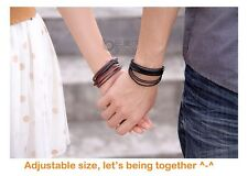 GENUINE LEATHER BRACELET WRIST BAND WRAP FOR MAN WOMAN GIRLS IN BLACK & BROWN