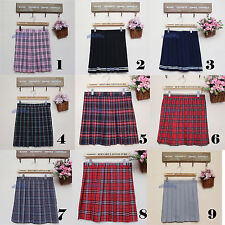 Pleated Mini Skirt School Girl Uniform Check Plaid Tartan Skater Cosplay Red New