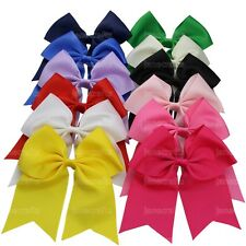 "12x Big 7"" Boutique Girls Cheer Bows Cheerleading Hair Bow Clip Grosgrain Ribbon"