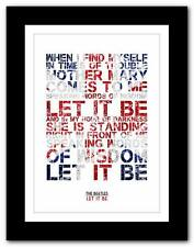 ❤ THE BEATLES - Let It Be ❤ song lyrics typography poster art print A1 A2 A3 A4
