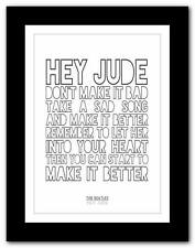 ❤ THE BEATLES - Hey Jude ❤ song lyrics typography poster art print A1 A2 A3 A4