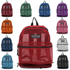 Transport See Through Mesh Backpack Book Color School Bag Laptop Sack