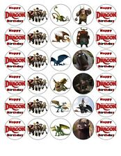 30 4cm HOW TO TRAIN DRAGON QUALITY EDIBLE FONDANT/WAFER PAPER CUP CAKE TOPPERS
