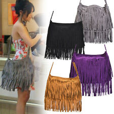 Women Lady Retro Tassel Fringe Shoulder Messenger Handbag Cross Body Satchel Bag