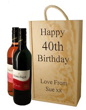 Personalised Wooden Wine Box for Two Wine Bottles, Engraved Birthday Gift
