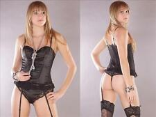 M-mala Corset Set Push-up Laces Lingerie+String+Garter Belt many colours 1104