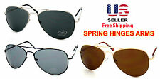 AVIATOR PILOT COP STYLE BLACK GOLD METAL FRAME DARK LENS SUNGLASSES SHADES