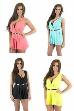 New Ladies Sleeveless Chiffon Belted Playsuit Low V Neck Shorts