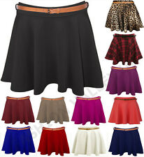 NEW LADIES WOMENS BELTED SKATER FLARED PLAIN MINI PARTY DRESS SKIRT SIZE 8-14