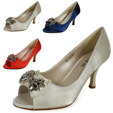 NEW WOMENS LADIES BROACH PEEPTOE HEEL KITTEN BRIDESMAID WEDDING PARTY SHOES SIZE