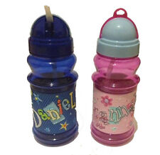 PERSONALISED FLIP TOP BOYS WATER DRINKS BOTTLE FLASK CUP WITH POP OUT STRAW