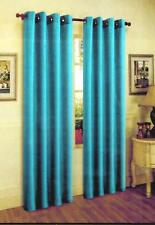 "FAUX SILK  Window Curtains Drape GROMMETS 63"" 84"" 95"" 108""BRIGTH TURQUOISE BLUE"