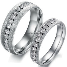 Couples Love Eternity CZ Silver Frosted Stainless Steel Engagement Wedding Ring