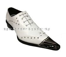 Zota Men Leather Fashion Metal Tip Stud Point European Design Shoe G908-34 White
