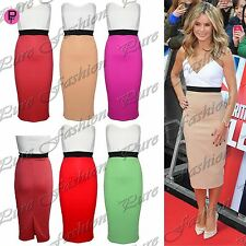 Womens Ladies Bandeau Boobtube Contrast Panel Strapless Bodycon Midi Skirt Dress