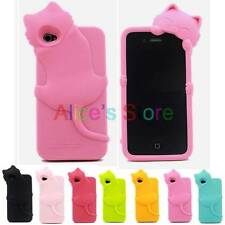 1PC 3D Cute Kiki Cat Silicone Rubber Soft Back Case Cover for Apple iphone 4 4S